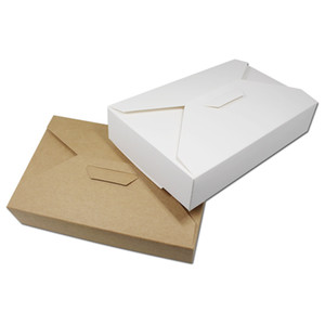 20pcs bianco marrone bianco carta kraft confezione regalo cartone imballaggio caramelle dolci sciarpa mestiere del cioccolato festa di nozze 19.5 * 12.5 * 4 cm shippi libero