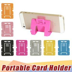 Soporte de teléfono de color caramelo Soporte plegable de plástico para teléfono móvil dual Soporte universal para samsung apple HTC card stand fábrica al por mayor