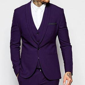 Новый дизайн одна кнопка темно-фиолетовый жених Uxedos шаль отворота rosmen Лучший мужской костюм мужские свадебные костюмы жених (куртка + брюки + жилет + галстук) нет: 19