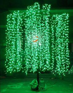 Led Artificial Willow Weeping Tree Light Uso al aire libre 3 m / 9.8ft Altura 2304 unids LED a prueba de lluvia Decoración navideña Lámpara impermeable para árboles