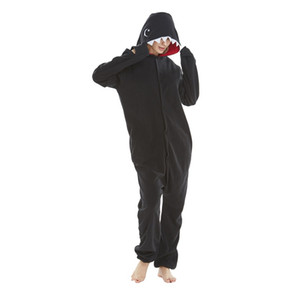 New Onesie Wholesale Animal Pajamas Black Shark Onesies Adult Unisex Women Hooded Sleepwear Winter Polar Fleece Jumpsuits