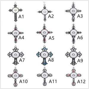 21 Стили Noosa крест Ассорти Оснастки Кнопки Ожерелья Из Нержавеющей Стали Распятие Цепи Ювелирное ожерелье
