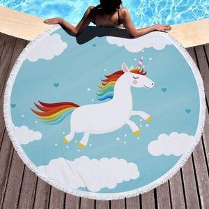 Thick Circle Microfiber Beach Towel Round Unicorn Printed Shower Bath Towels Summer Yoga Mat Blanket Towels With Tassels