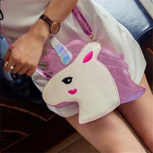 Kadın Moda Unicorn Tek Omuz Çantası Güzel Kişilik Fermuar Pırıltılı Kozmetik Saklama Poşetleri Kadın Alışveriş Aksesuarları 24xc hh