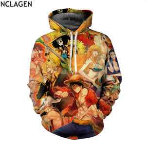NCLAGEN Men Women One Piece Monkey D Luffy Kuzan The Straw Hat Print 3D Pullovers Loose Hooded Hoodies Sweatshirts
