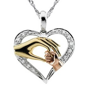 Mutter und Kind Anhänger Geschenk für Mutter Golden Hand in Hand Herz Liebe Anhänger Halskette Mom Familie Schmuck