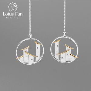 Lotus Fun Real Prata Esterlina 925 Jóias Finas Original Estilo Chinês De Arquitetura Jiangnan Cidade Oscila Brincos para As Mulheres