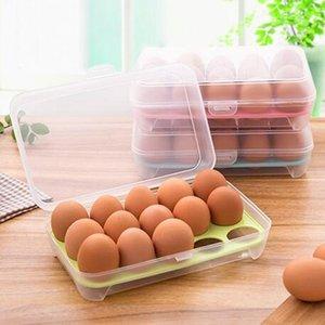 Refrigerador de una sola capa Caja de almacenamiento de alimentos 15 huevos Caja de plástico hermética del contenedor de almacenamiento, bandeja de huevos portátil