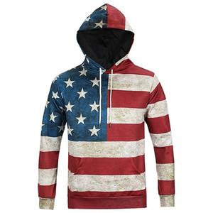 Nord America Moda Uomo / Donna Felpe 3d Stampa Bandiera USA Stelle Spogliato Drop Shipping Felpe con cappuccio con cappuccio Top con cappuccio