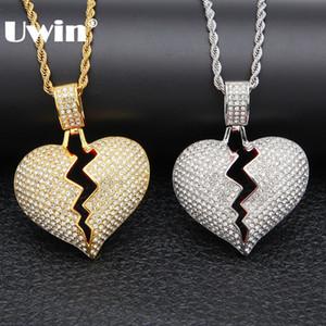 UWIN completo el cristal Rhinestones de la aleación del corazón roto joyería Collar de Oro color plata del Hiphop de la manera para los hombres y las mujeres