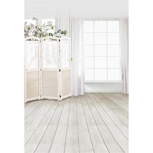 Fenêtre intérieure photo fond imprimé rideau fleur arbre en bois écran bébé enfants mariage photographie toile de fond plancher en bois