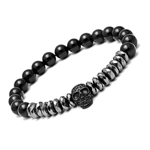 Bracelets pour homme Brins Bracelets Perles en acier inoxydable Bracelet squelette perlé bracelets magnétiques pulseira masculina