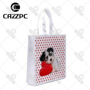 Al por mayor- Red Dot Love Cute Lovely Dogs Pet Print individual ligero de poliéster tela reutilizable Grocery Bag Pack de 4