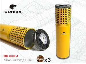 Envío gratis COHIBA plata portátil de viaje cigarro pipa Humidor de tubo con humidificador higrómetro Cigarrillo caja de cigarro