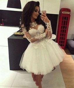 2018 Vestido de Ball Vestidos Homecoming Mangas Longa Sheer Pescoço Doce 16 Vestidos Pageant Prom Vestidos Mini Curto Graduation Dress