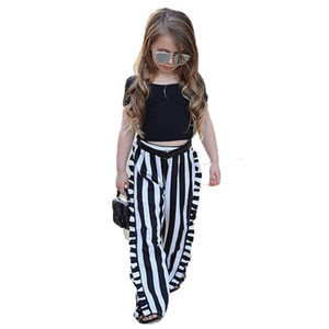 Nueva moda Ropa para niñas Conjuntos de ropa para niños Negro Manga corta Top + Raya pantalones de pierna ancha 2 piezas Traje Ropa para niños