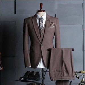 Costumes de couleur unie pour hommes trois pièces (vestes + pantalons + gilet) Four Seasons New Groom Wedding Groom Slim smoking occasionnels d'affaires à vendre
