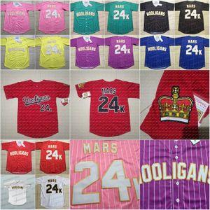 24K Bruno Mars Uomini Hooligans baseball Jersey delle donne BET Awards / Gioventù Nero Bianco Rosso Blu Tutti cucita Maglie di alta qualità