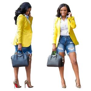 Frauen Blazer Herbst Winter Mode lässig Damen einfarbig Anzugjacke Gelb Blazer ol Stil 2xl 811