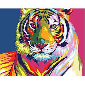 Бескаркасных красочные Тигр животных DIY живопись by Numbers украшения дома современные стены искусства холст акриловые картины подарок для ребенка