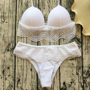 Free shipping new Popular Women Sexy bandage Lace bikini set Push up padded swimwear beach bathing suit white black