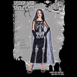 Costume d'Halloween Ghost Bride Cospaly Stage Performance Magique Charme Costume Jupe Manteau Mascarade Horreur Robe de fête Avec cape