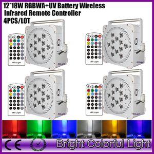 4XLOT Date H-Puissance 12 * 18w RGBAW UV 6in1 Rechargable LED À piles Sans Fil dmx par Lights Pour la Décoration De Mariage DHL gratuite