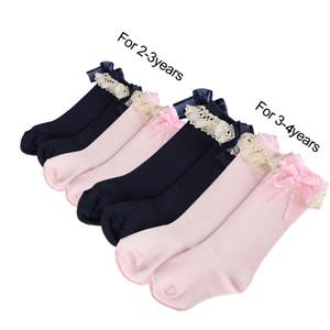2 Couleur Dentelle Fleurs Enfant En Bas Âge Fille Fille Chaussettes Genou Haute Longueur avec Calcetines Arc Organza livraison gratuite