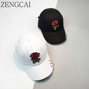 ZENGCAI Snapback Caps Anel Unisex Curvo Chapéus Caps Boné de Beisebol Das Mulheres Dos Homens com Anéis Retro Rose Flores Pai Chapéu Lazer Gorra