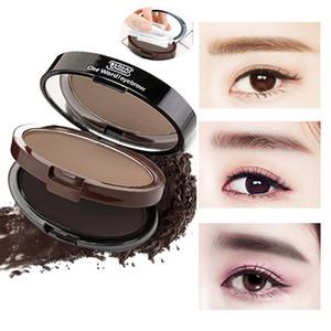 2 in 1 Colors Eyebrow Powder Seal Eyebrow Shadow Set Waterproof Eyebrow Stamp Straight Curved Shape Brow Stamp Powder Palette Stamper