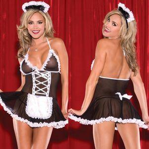Miniskirt atractivo de la ropa interior de la ropa interior atractiva de la criada precioso Mujer de encaje Lolita equipo de la criada atractiva del envío del traje