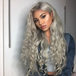 Del merletto 8A Grado dei capelli parrucca brasiliana Glueless piena del merletto grigi Body Wave capelli umani frontale parrucche delle donne di colore
