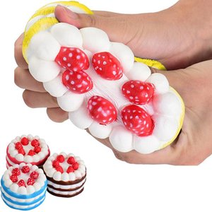DHL Novelty Kawaii Strawberry Cake Squishy Slow Rising Toys Kids Adult Funny Decompression Squeeze Toys Home Party Decorative HH7-894