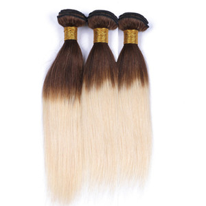 Medium Brown and Blonde Ombre Malaysian Human Hair Weave Bundles 3Pcs Straight 4 613 Brown Rooted Blonde Ombre Human Hair Weft Extensions
