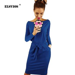 ELSVIOS Donna O Neck manica lunga Sashes Dress 2018 Summer Casual lunghezza ginocchio Beach Dress Ladies Fashion Solido al ginocchio
