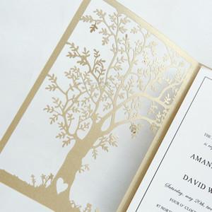 2018 inviti di nozze Fancy Oro Love Tree Laser Cut - Elegante Laser Cut Invita -20+ Colori disponibili