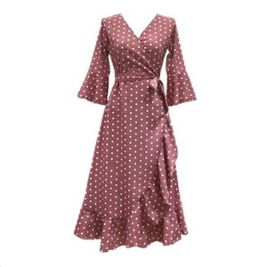 PERHAPS U pink red black mustard polka dot print v neck 3 4 flare sleeve ruffle wrap split midi summer beach casual dress D0191