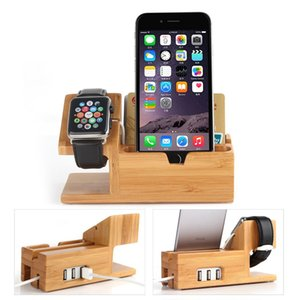 Vente en gros 2 en 1 Bamboo Wood Charging Dock Station de charge avec 3 ports USB 2.0 Hub pour Apple Watch 38mm 42mm iPhones