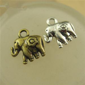 200 pçs / lote 12 MM Elefante Pingente Encantos DIY Jóias Encontrar Fazendo Encantos Colar Infinito Pulseiras Brinco Acessório