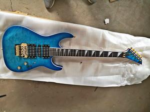 Fabrik großhandel Top qualität GYJAK-0002 Transparent blau farbe tiger streifen palisander griffbrett 6 string e-gitarre, freies verschiffen