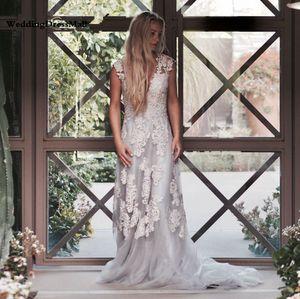 Vintage Lace Boho Свадебное платье халат-де-Mariage Gelinlik Бич Кружева Свадебные платья 2021 Plus Размер Платье-де-Noiva де Renda