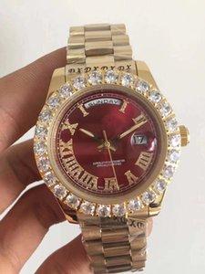 Мужские механические часы. Красное лицо Diamond Full автоматическое движение Sapphire 18K Золотая складная застежка 44 мм 3а Качество