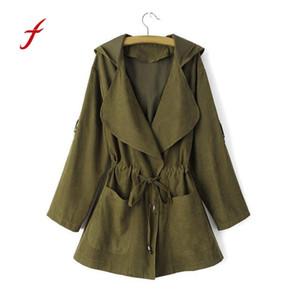 FEITONG Women Hooded Windbreaker Fashion Long Sleeve Jacket Coat Parka Pockets Cardigan Turn-down Collar New Autumn Thin coat