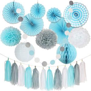 24 Unids / set Chic DIY Gris Blanco Azul Paño de papel Pom Pom Flor Bola de abanico plegable Garland Para La Boda Fiesta de Cumpleaños decoración