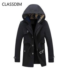 CLASSDIM Kış Sıcak Kapşonlu Hendek Erkekler kalın Sıcak Coat Hendek Kış Ceketler Erkekler Kapşonlu Çıkarılabilir Casual Size5XL