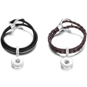 Easy Hook Leather Bracelet Noosa Chunks Metal Ginger 12mm Snap Buttons Socket Bracelet Jewelry Black & Brown Mix