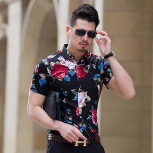 l New Summer Fashion Herren Hemd Slim Fit Kurzarm Floral Cool Shirt Herren Bekleidung Trend Plus Size Herren Casual Flower Shirts Heißer Verkauf