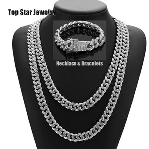 HipHop Bling Bling Jewelry Set 14K Gold Plated Full Cubic Zirconia Collana Bracciali Uomo Donna MIAMI CUBAN LINK CATENA Iced Out Accessori