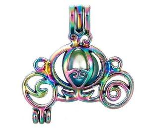 Rainbow Color Carriage Gaiola de Pérolas Gaiola Gaiola Medalhão Pingente Óleo Essencial Difusor Jóias DIY Medalhão Para Oyster Pearl C135