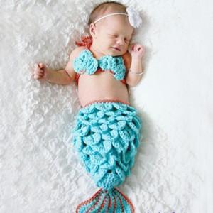 Nouveau-nés filles Crochet bleu sirène queue Costume Props Photographie Enfant fille sirène Cocoon Props photo